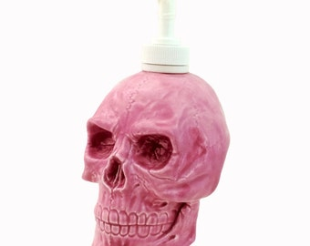 Ceramic Skull Soap Dispenser Bottle in Bright Pink for Bath Vanity or Kitchen Counters Haunted Mansion House Decor