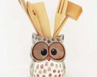 Large Ceramic Owl Kitchen Utensil Tool Organizer or Planter Kitchen Decor