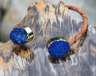 Drusy bangle wrap bracelet in Cobalt Blue - leather wrapped - gold electroplated sparkle crystal cuff-style bangle Druzy // Drusie