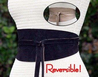 2 Sided Suede + Leather Reversible Obi Wrap Sash Belt // XS S M L XL Plus & Petite Size // wide cinch belt - custom leather choice