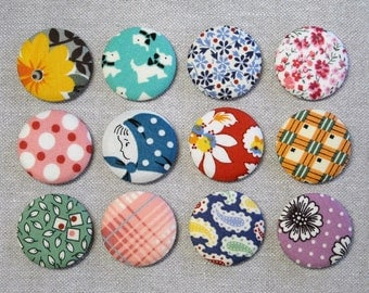 Fabric Button Magnets - Set of 12 - Feedsack and Novelty Prints 5