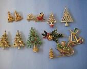 Lot of 12 vintage Christmas Pins, brooches, earrings, metal, enamel, MYIU, Tancer, Rhinestones, jewelry, destash lot