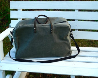 Waxed Canvas Weekender Travel Bag Leather Handles