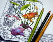 Goldfish Coloring Page #2 by Tempest Studios, Printable Adult Kids Fish Bowl Complicated