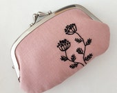 Hand-embroidered kiss lock coin purse - black flowers on rose pink
