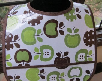 WATERPROOF WIPEABLE Baby to Toddler Wipeable Plastic Coated Bib Apples Green and Brown