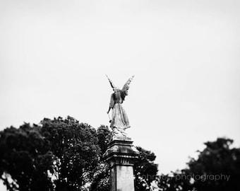 angel cemetery photography, nashville cemetery art, neutral wall art, black and white cemetery art, angel art