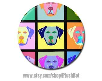 "Labrador Retriever Lab Dog Pop Art 1.25"" or 2.25"" Pinback Pin Button Gifts Jewelry Cute Fun Art Black Yellow Chocolate"