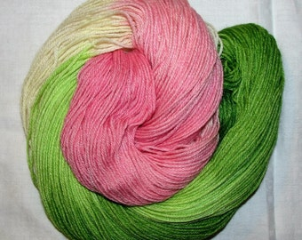 Handdyed Merino and Silk Sock Yarn ROSE BUD