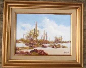 Vintage Original Oil Painting of Desert Landscape, Listed Arizona Artist John Loo, Southwest Rustic Decor