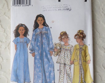 Simplicity Sewing Pattern 8488 Robes, Tops, Night Gown, Pajamas, Sleepwear, Childs and Girls Size HH 3-4-5-6