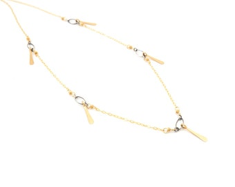 Mixed Gold Bar Necklace
