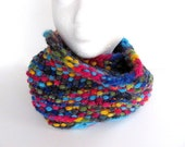Rainbow Pebble Cowl Infinity Scarf FREE US Shipping