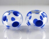 Blue Spots on Clear Hollow Lampwork Glass Bead Pairs