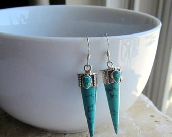 25% SALE Turquoise Spike Earrings, Turquoise and Opal Earrings, Gemstone Earrings, Under 50, Turquoise Earrings,