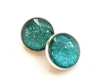 Emerald Green Sparkle Clip On Earrings. Under 25. Gifts for Her. Stocking Stuffers.
