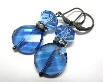 Blue Crystal Earrings. Blue Coin Crystal Earrings. Under 25. Gifts for Her. Blue Earrings.
