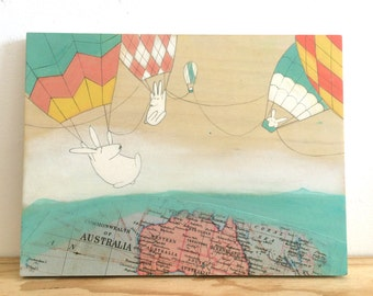 Hello Australia -  Original Painting on Wood
