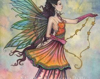 Celestarra - Original Watercolor and Mixed Media Painting by Molly Harrison - Fantasy, Fairy, Fairies, Faery, Artwork