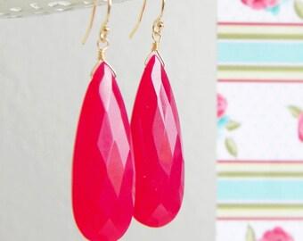 Long Faceted Dark Rose Pink Chalcedony Teardrop Earrings