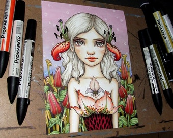 Lily - original pen and ink illustration by Tanya Bond