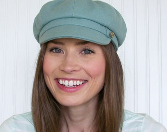 Womens Wool Newsboy Hat in Seafoam Green. Womens Hat - S
