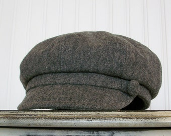 Womens Newsboy Hat, Gray Heathered Wool, Newsboy Cap, Womens Caps, Hats For Women - Made To Order