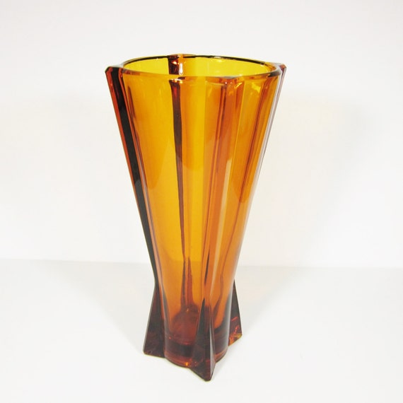 Amber Glass Vase Art Deco Style Square And Round 9 Inch Tall