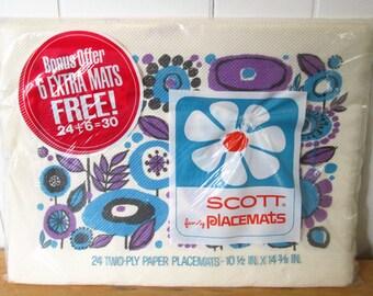 vintage mod flower paper placemats