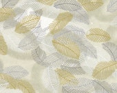 Chiyogami or yuzen paper - swirling leaves in grey, white and metallic gold and silver, 9x12 inches