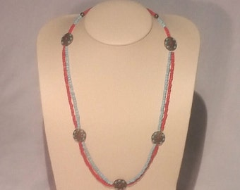 Long Southwest Necklace with Red Coral and Turqouise Beads and Brass Toggle