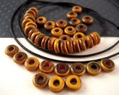 150 TINY Brown Horn Beads, 2x 6mm, Two Tone, Lighter Brown, Horn Spacer Beads, Chocolate Brown, Caramel Brown, Horn Rondelle, Horn Disk HN11