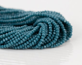 Teal Blue Chalcedony Gemstone Beads - AAA Quality Microfaceted - Full 13 in Strand - 2.5-2.8mm Beads - Item 310
