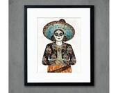 Señorita (Flores) Cowgirl with Sugar Skull Art Print