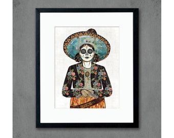 Señorita (Flores) Cowgirl with Sugar Skull Art Print