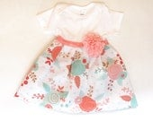 SHABBY CHIC coral and aqua one piece DRESS or Gown - new baby or girl sizes