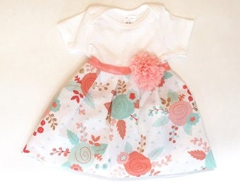 SHABBY CHIC coral and aqua one piece DRESS -new baby or girl sizes
