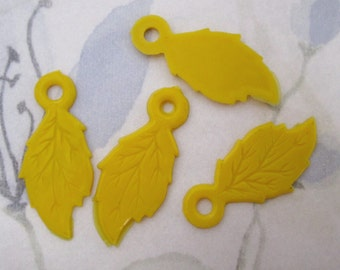 12 pcs. vintage yellow plastic leaf charms 25x15mm - f5036