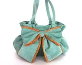 Vegan bow bag , handmade corduroy handbag  in teal color, Gathered purse with bow , Birthday gift for her , Fabric hand bag , Teens purse