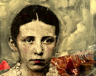 painting  portrait vintage girl mixed media heather murray