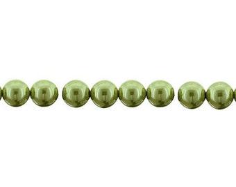 74  CZECH  Glass  PEARLS - 6mm in OLIVINE