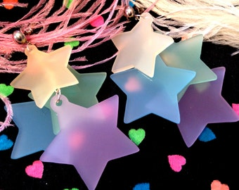 Rainbow Pastel Dangling Stars Earrings