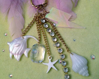 Under the Sea Mermaid and Rhinestones Laser Cut Charms Purse Candy