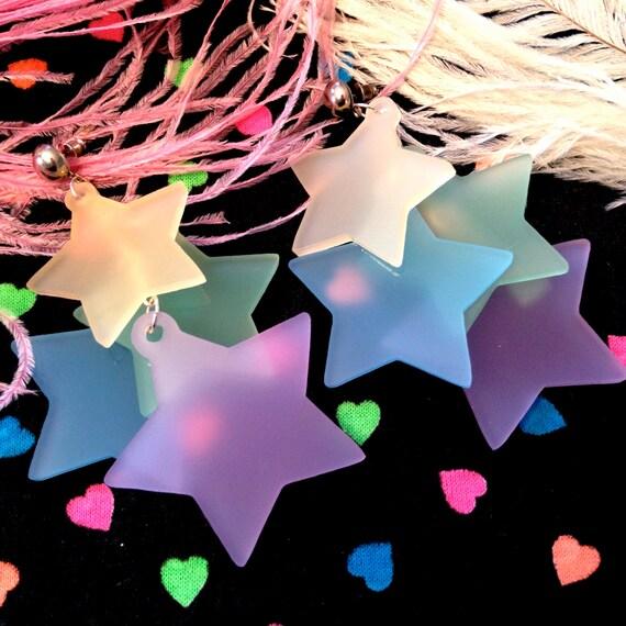 Rainbow Pastel Dangling Stars Earrings