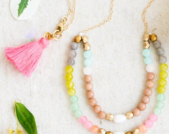 Two-Tiered Beaded Gemstone Necklace, Pearl Necklace, Beaded Necklace, Tassel Necklace