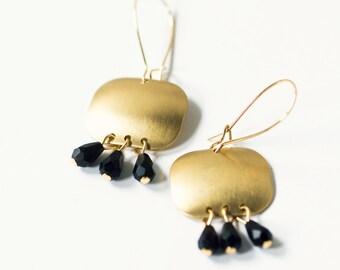 Small Golden Brass Square Chandelier Earrings, Beaded chandelier earrings, Bohemian Brass Earrings
