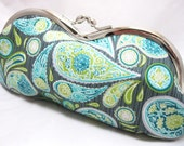 Eyeglass Case Purse Fabric Rustic Green Grey Paisley