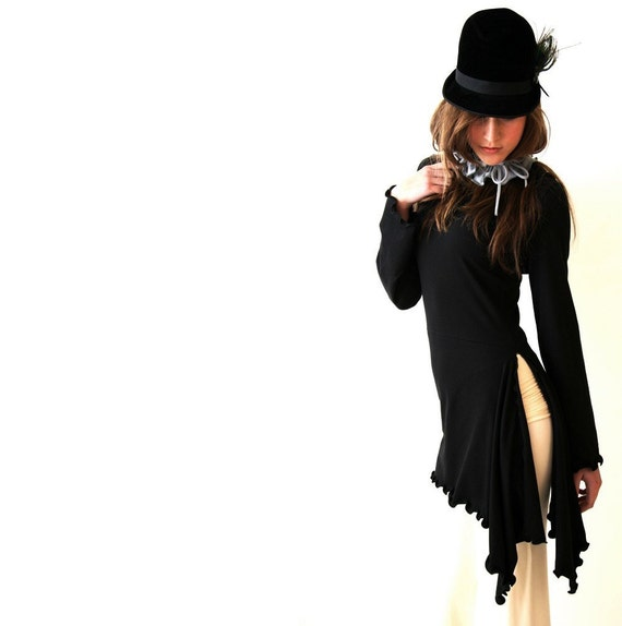 SIDE SLIT TUNIC  women, shirt, tops, black shirt, black tunic, handmade, hoody, hooded shirt, long sleeve shirt, layered clothing