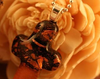 Copper Dichroic Cross Pendant No. 22643