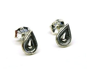 Paisley Studs - Post Earrings Sterling Silver Posts by Queens Metal